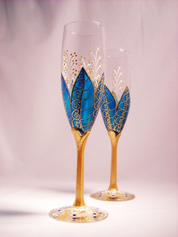 blue champagne flutes hand painted toasting glasses a