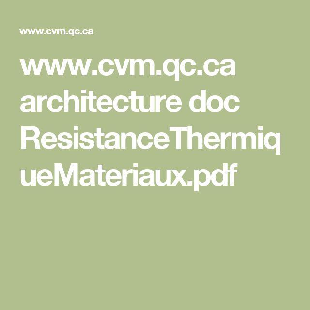 www.cvm.qc.ca architecture doc ResistanceThermiqueMateriaux.pdf