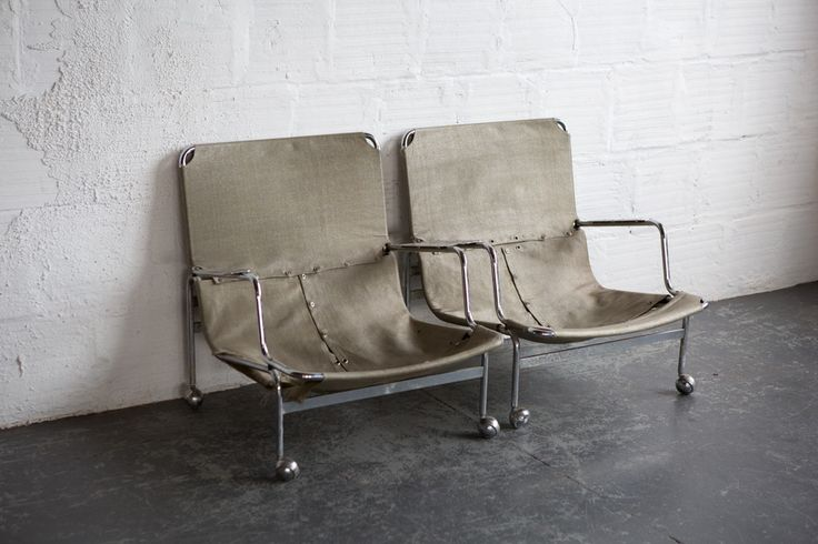 Design Bruno Mathsson, 1960's Chromed steel, fabric Made inSweden by Dux This pair of Karin lounge chairs designed by Bruno Mathsson are screaming to be redone
