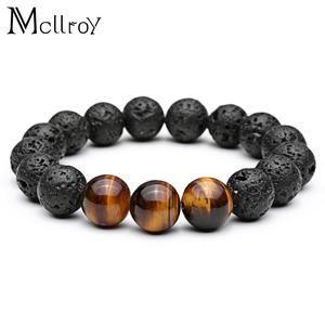 Bracelet Tiger Eye Natural Stone Beads Bracelet Buddha Charm Bracelets & Bangle