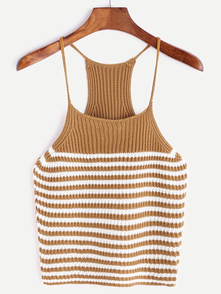 Shop Camel Striped Racerback Knit Cami Top online. SheIn offers Camel Striped Racerback Knit Cami Top & more to fit your fashionable needs.