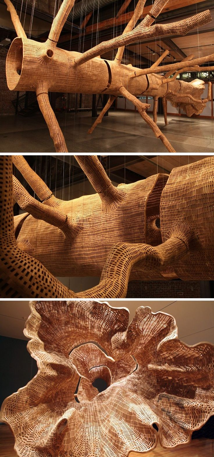 Seattle-based artist John Grade has created Middle Fork, a tree sculpture that has been made up of hundreds of thousands of individual wood pieces. To get the shape of the sculpture, John and his assistants scaled a 140-year old old-growth Western Hemlock tree, where they took plaster casts of its trunk and limbs.