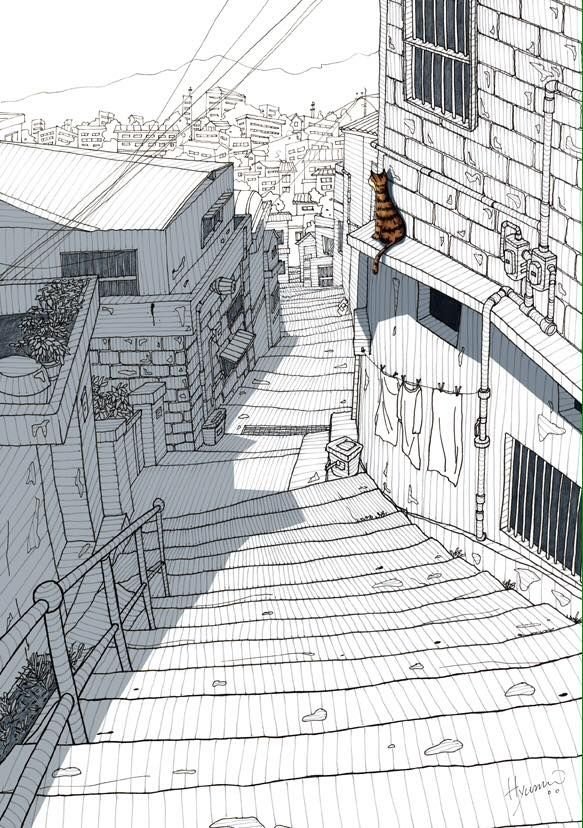 Alleyway and cat. Pen drawing and graphic, by James Hyun, Seoul, Korea