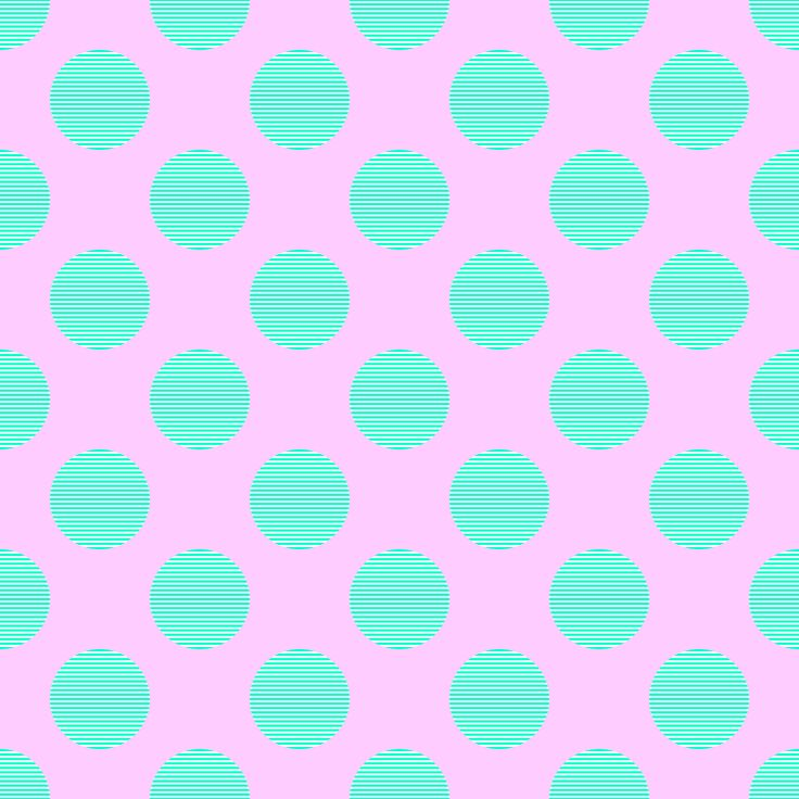Seamless pattern in the style of polka dot bright green aquamarine large white circles on a striped pale pink background.