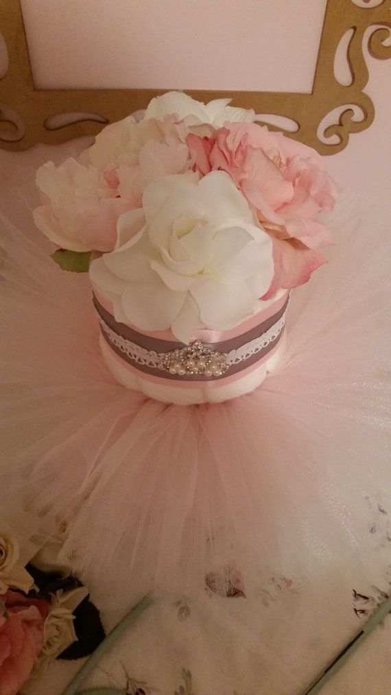 Tutu Tiara Diaper Cake Pink and Grey With Tiara by ItsUpInTheAttic