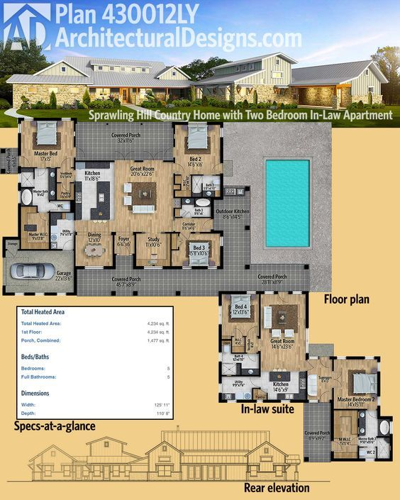 Plan 430012ly sprawling hill country home with two for Homes with inlaw apartments for sale