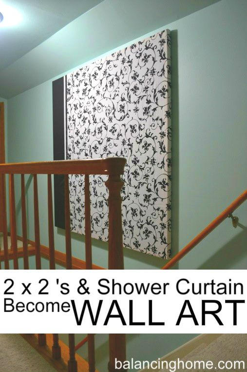 Left over 2x2's and a shower curtain become a large wall hanging for that awkward high space above the stairs. Super easy. Check it out at http://www.balancinghome.com/2012/04/diy-large-wall-hanging.html
