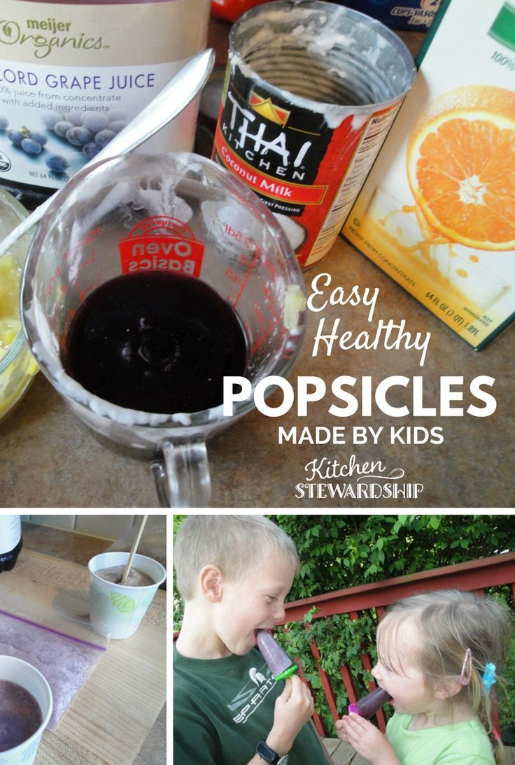 No sugar or sweetener of any kind is needed for easy homemade fruit and coconut milk popsicles - share with your neighbor kids all summer long! #popsicles #mykidsmadethis