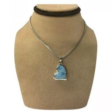 Online Store | Sterling Silver Larimar Floating Heart Necklace Shedd Aquarium
