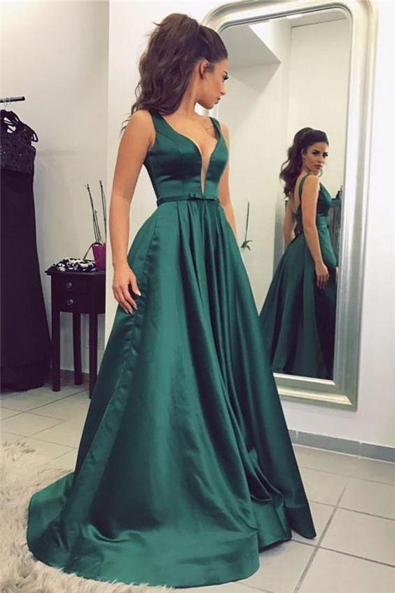 Dark Green Prom Dress Long Prom Dresses Prom Balla Dresses Prom
