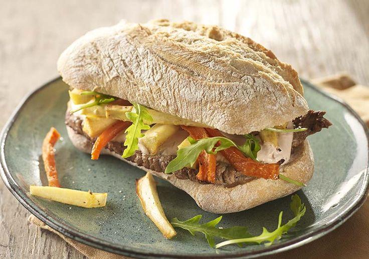Mitraillette aux frites de légumes et steak minute #belgiancooking