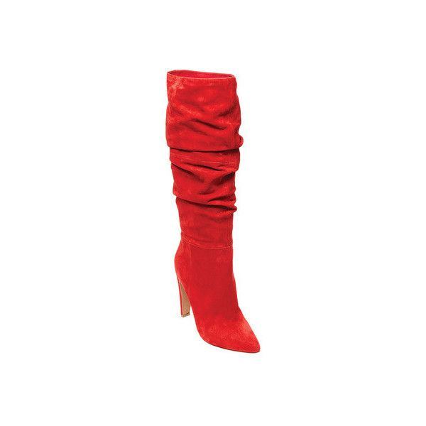 Women's Steve Madden Carrie Knee High Boot ($170) ❤ liked on Polyvore featuring shoes, boots, knee high boots, red, high heel boots, pointed toe knee high boots, knee length boots and tall boots
