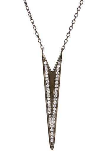 Deep V Pave CZ Pendant Necklace by Adam Marc on @HauteLook