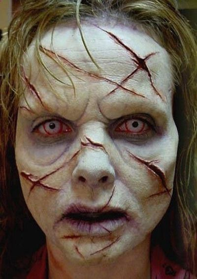 Cool possessed Reagan Halloween makeup job...