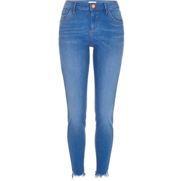 Bright ripped hem Amelie superskinny jeans ❤ liked on Polyvore featuring jeans, torn jeans, frayed jeans, mid-rise jeans, destructed jeans and distressing jeans