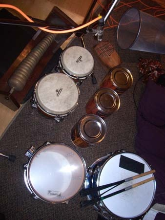 Eclectic percussion setup (including a waste basket)