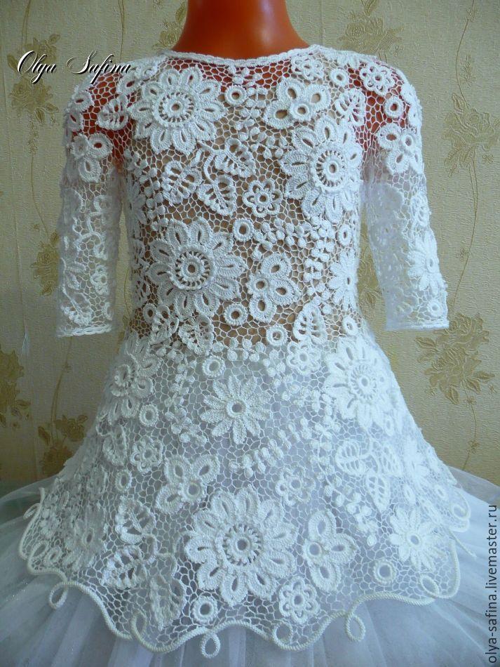 """Купить Платье """"Снежинка"""" авторское - белый, кружево авторское, кружево ирландское, оля сафина"""