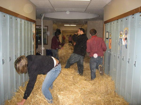 Hay in the Hallway - 20  Best Senior Prank Ideas, http://hative.com/best-senior-prank-ideas/,