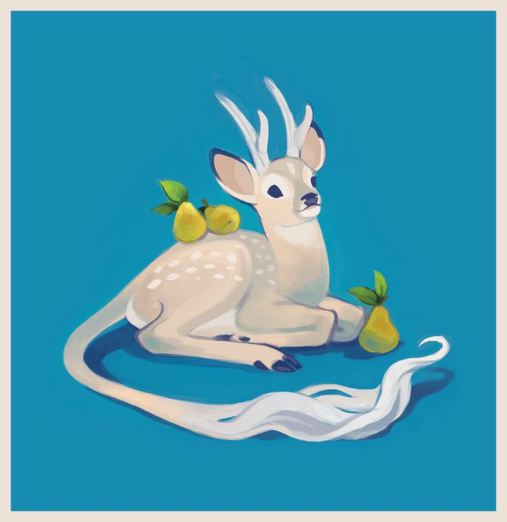 Kirin-y fawn with pears, by happydorid on tumblr