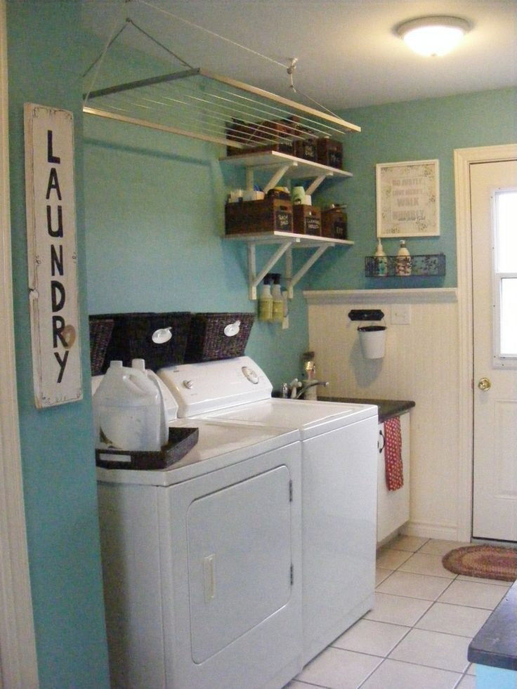 Small Laundry Room Ideas : The Laundry Room Iu0027m Thinking Shelf Above Washer  And Dryer With The Baskets. Love The Pot Rack Idea.