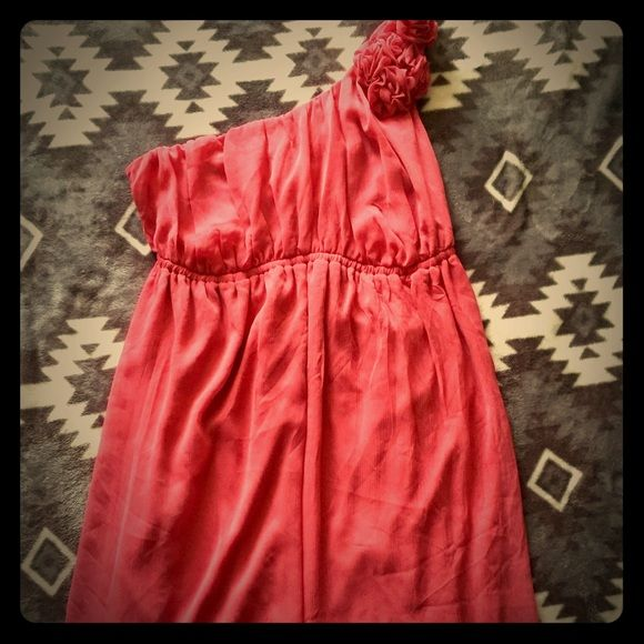 Pink rose colored one strap dress (price reduced) Pink rose colored dress with one strap. Strap has flower detail. Empire waisted. Size small but fits more like a medium. Never worn. Merona Dresses Midi