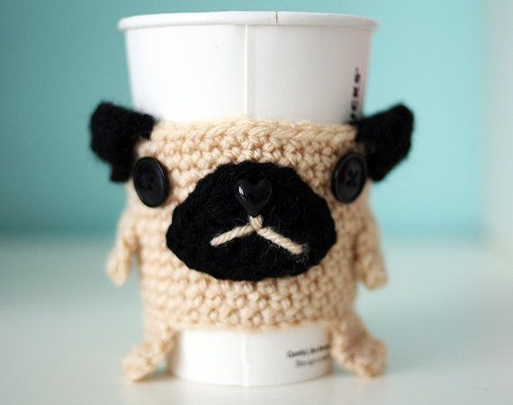 I don't drink coffee BUT I would START if I had this little guy!! Pug dog coffee tea cup cozy warmer handmade by TwinFlameBoutique