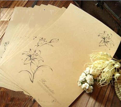 Hot selling 230*170mm.new arrival fashion cute retro romantic series diy fun Kraft letter paper set.nice Gift .retail great deal