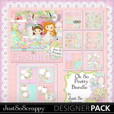Digital Scrapbooking Kits | Oh So Pretty Bundle-(jsscrap) | Girls, Kid Fun | MyMemories Just So Scrappy