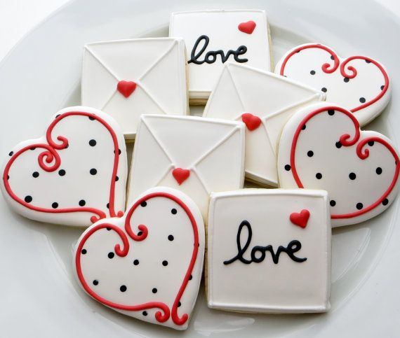 Love letter and heart cookie favors decorated for a Wedding, Bridal shower or Valentines,1 Dozen