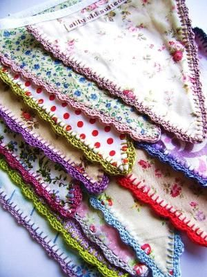 Fabric bunting flags with crochet edging by SillyOldSuitcase. by kerry