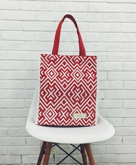 Bolsa Ecobag Geométrica Vermelha
