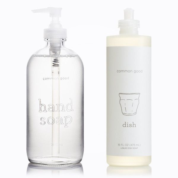 eco friendly hand soap packaged up in a pretty glass bottle.
