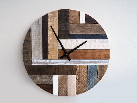 Rustic Wall Clock Large Weathered Wood Home Decor Reclaimed
