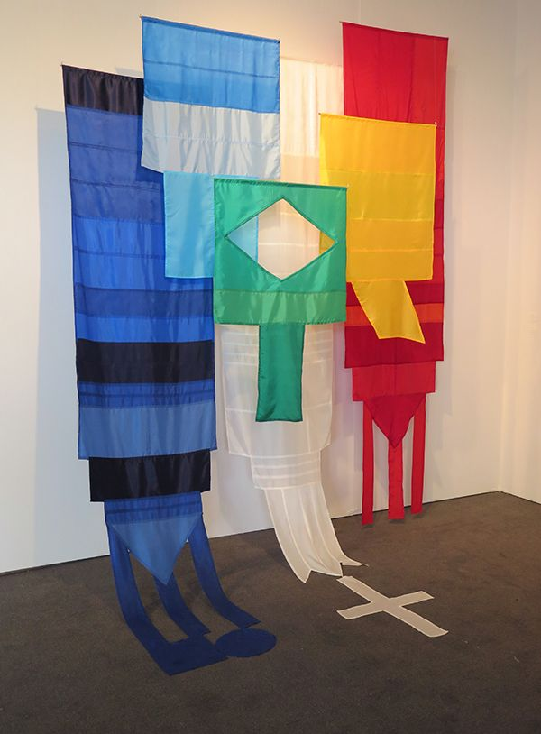 _Untitled (Flags) : ANDREA CANEPA UNTITLED (FLAGS) Synthetic fabric, wood sticks, nylon thread, 2014, variable measures Color areas of all Latinamerican flags reorganized into 6 single colored flags.