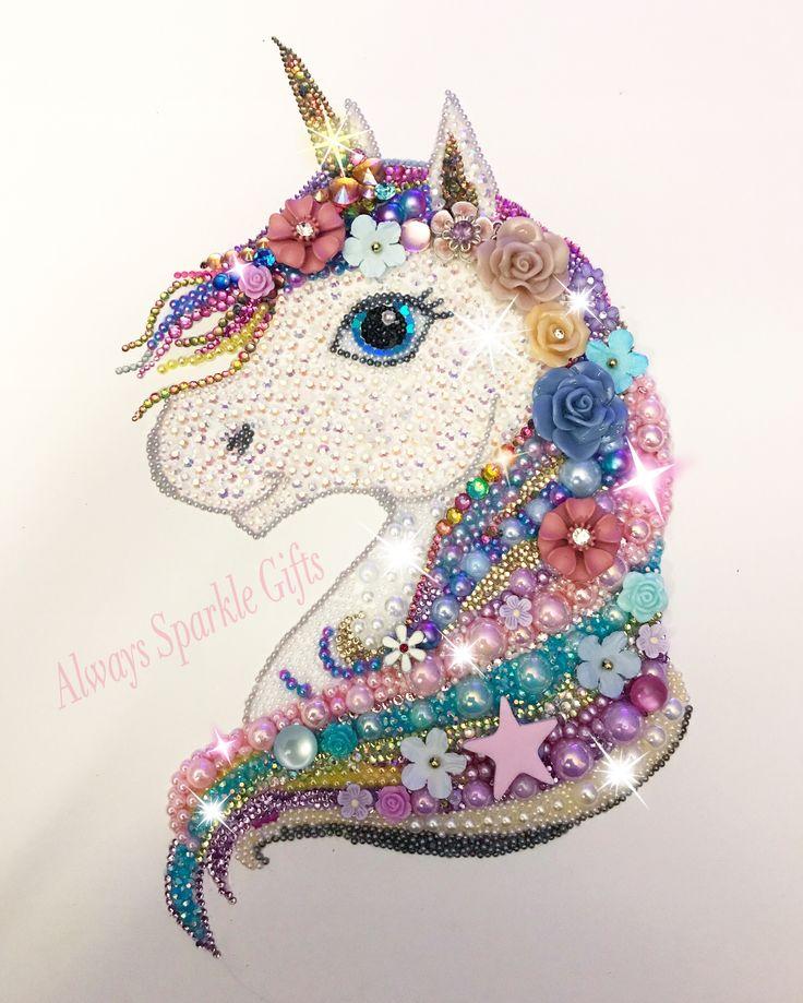 Amazing Sparkling mixed media art Rainbow Unicorn.