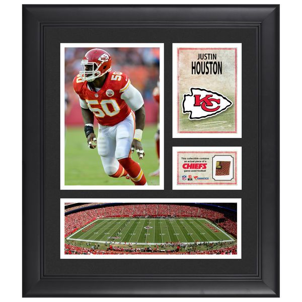 "Justin Houston Kansas City Chiefs Fanatics Authentic Framed 15"" x 17"" Collage with Piece of Game-Used Football - $79.99"