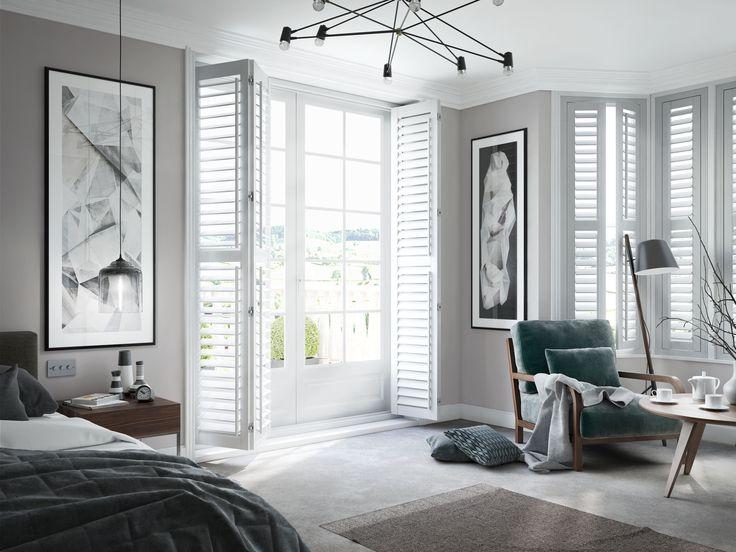 Bedroom With White Full Length Shutters Shutters