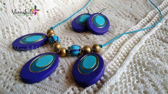 PURPLE & BLUE - Geometric Collection - Handmade Terracotta clay necklace/earrings.