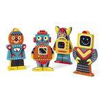 Funny Magnets: robots. Boven, midden en onder zijn losse onderdelen die met magneten aan elkaar zitten. Zo kun je allerlei leuke en gekke combinaties maken. Geschikt voor peuters vanaf 18 maanden. Afmeting: 8x1,5x15 cm.