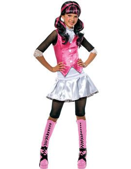 This Child Monster High Draculaura Costume Includes shirt with attached waistcoat and skirt with attached leggings.
