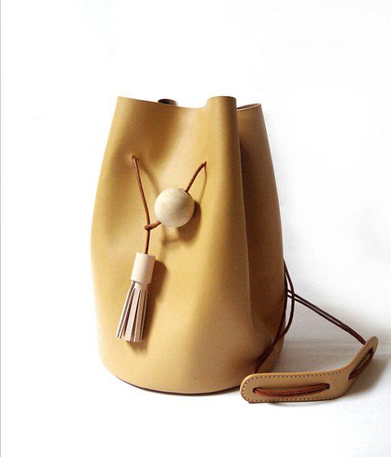 Original handmade natural  leather bucket bag leather handbags shoulder bag/messenger bag   Etsy