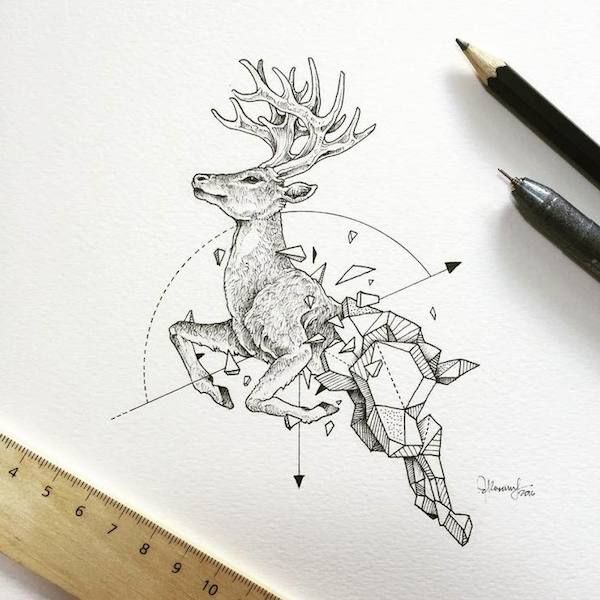 Gorgeous, Intricate Drawings Beautifully Fuse Wild Animals And Geometric Shapes - DesignTAXI.com