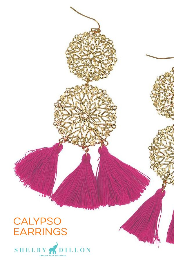 SHOP COLORFUL EARRINGS by Shelby Dillon Studios. These featherweight calypso style earrings dress up a little black dress, party outfit, girls night out look, or travel outfit. They come in gold with Pink, Black, Turquoise and other colorful styles.