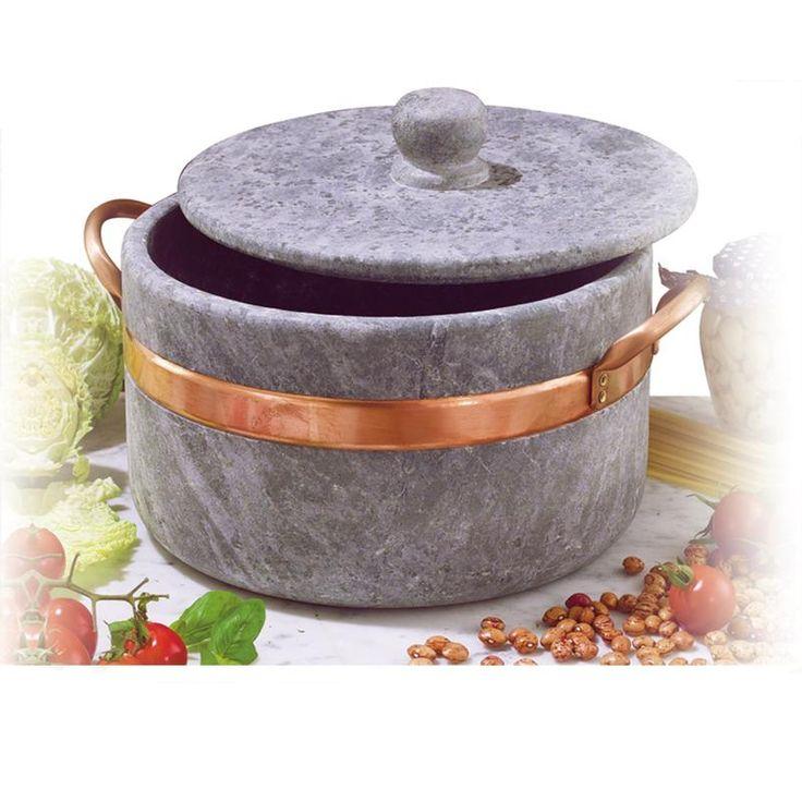 casseruola in pietra ollare diametro 16 2 manici con coperchio con bordo in rame ideale per cucinare stufati brasati gli arrosti cuartigiana
