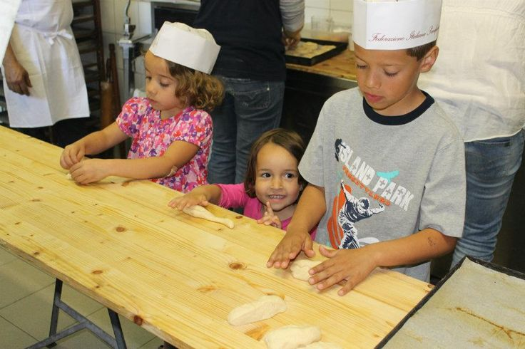 Children making bread