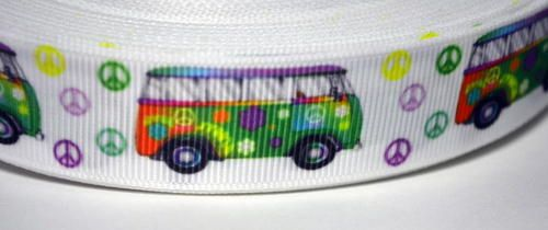 "Groovy White Peace Sign Symbol Van Keep Movin' 7/8"""" Lovely Grosgrain Ribbon"
