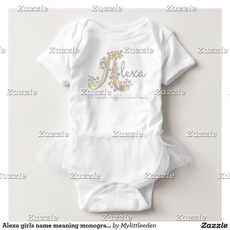 Alexa girls name meaning monogram hearts baby bodysuit by www.mylittleeden.com #namegifts #babyshowerideas #alexa #newbaby #babybagessentials
