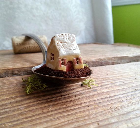 Volets Rouges miniature French cottage red by CurlyFernCeramics