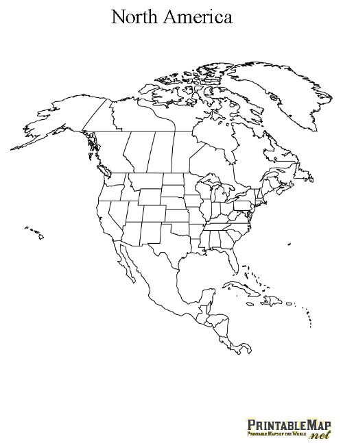 printable map of north america continent