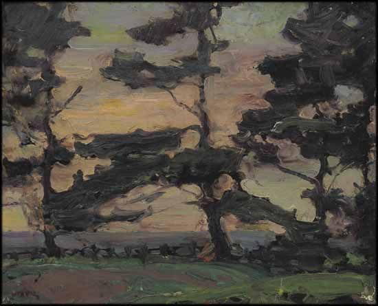 """Pines at Dusk,"" Frederick Horsman Varley, oil on board, 12 x 15"", private collection."